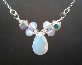 Opalite Peardrop Necklace with Swarovski crystal & Rhinestone in Sterling Silver