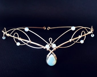 Wedding Circlet Tiara Opalite Moonstone Medieval Crown Renaissance Headpiece Celtic Bride Diadem