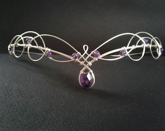 Elven Circlet Tiara with Amethyst Wedding Headpiece Medieval Renaissance