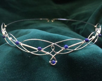 Elven Circlet Wedding Tiara with Lapis Lazuli Boho Bride