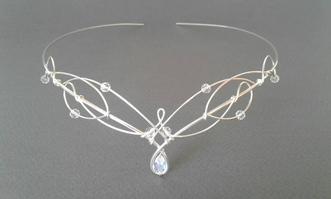 Silver Circlet Elven Crown Celtic Tiara Medieval Headdress Bridal Tiara Wedding Headpiece