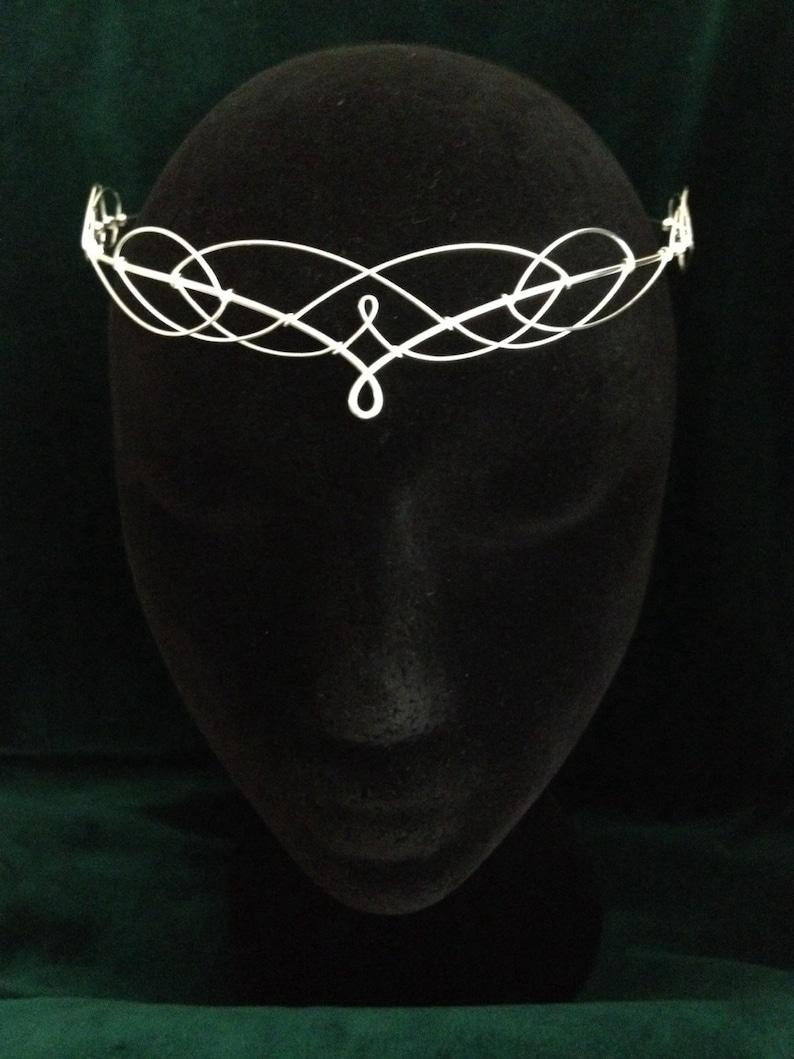 Silver Circlet Wedding Circlet Forehead Tiara Elven Tiara Medieval Tiara Bridal Headpiece Wedding Headdress