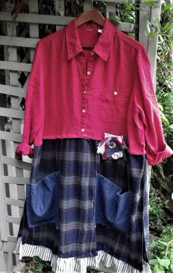 7b18cbbc7bc Flannel Linen Dress  Reclaimed Fabrics  Red Linen Shirt  Plaid
