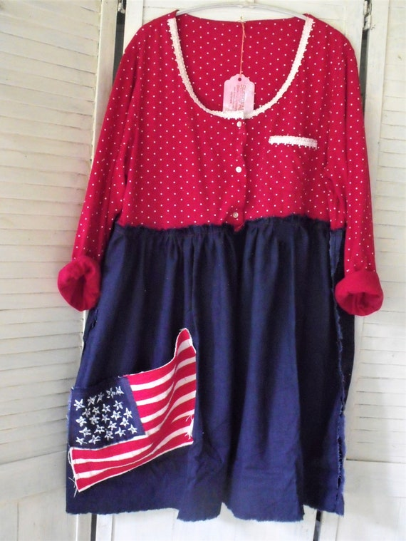 d54cbdbaa54 2-3X Tunic  Red-White-Blue Tunic  Happy Birthday America  Wave
