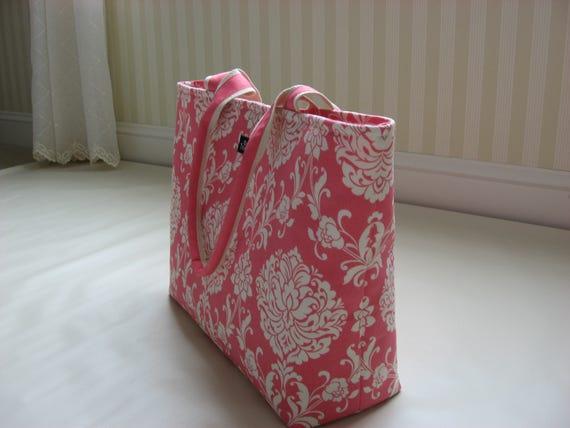 Large Tote Coral Pink Pink Damask Tote Bag Waverly Fabric