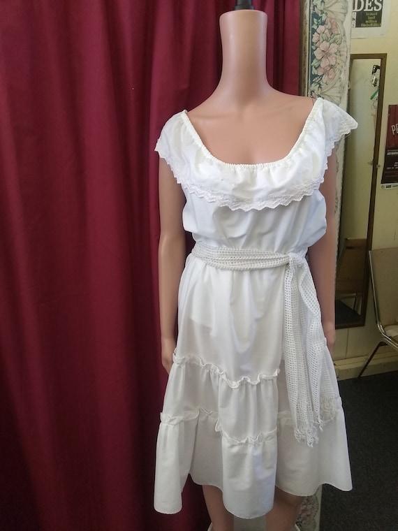 1980s White Cotton Off the Shoulder Sundress