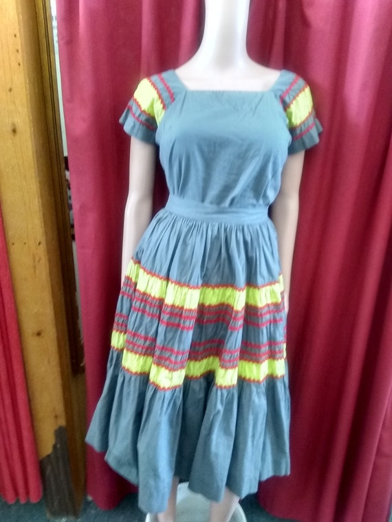 1960s Grey, Red and Chartreuse Patio Skirt and Top