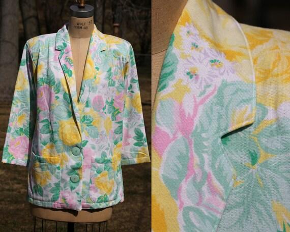 Medium Summer Floral Print Jacket.  Vintage 80s Ja