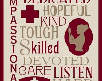 Nurse Typography  Stencil  Reusable