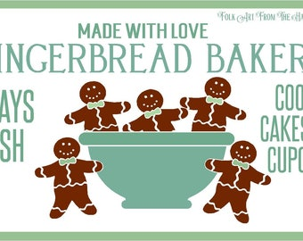 Primitive Stencil Gingerbread Bakery 7 mil  Reusable 12x20