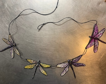 Hand painted chain of dragonflies.