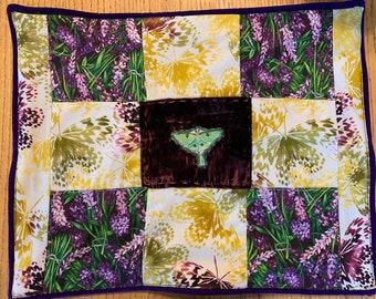 Luna moth and lavender pillow