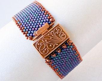 Blue and copper beaded cuff/seed bead bracelet/boho bead bracelet/jewelry gift/bracelet for women/peyote cuff bracelet/hippie jewelry