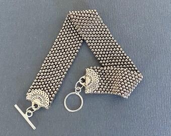 Silver cuff bracelet/metal seed bead bracelet/boho jewelry/bracelet for her/beaded jewelry/stackable bracelet