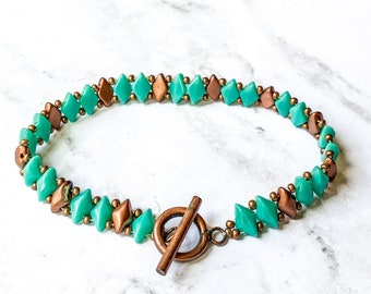 Green and cooper beaded bangle/diamond bead bracelet/bracelet for women/jewelry gift/czechmate bracelet:boho jewelry