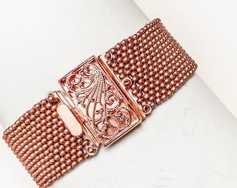 Rose gold beaded cuff bracelet/copper beaded bracelet/ seed bead cuff/seed bead boho/gift for her/beaded copper jewelry