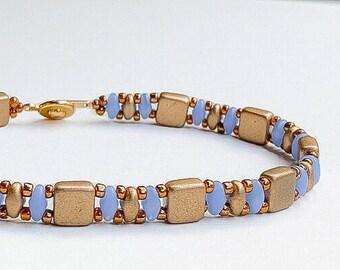 Blue and gold bead bracelet/tile bracelet/superduo bracelet/beaded bracelet/ bracelet for women/gift for her/boho bracelet/beaded bangle