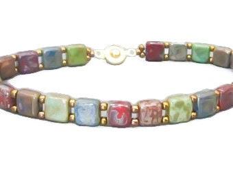 Multicolor picasso tile beaded bracelet/ gift for her boho jewelry/bead bracelet for women/ stacking bracelet