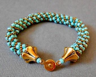 ON SALE teal beaded bracelet, seed bead, bead jewelry, bead bracelet, boho jewelry, native american jewelry, gift for her, 10% off