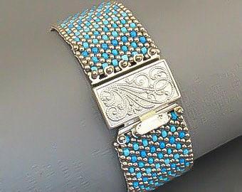 Multicolor bead cuff bracelet/seed bead bracelet/boho jewelry/bracelet for women/silver and blue bracelet/jewelry gift/bead jewelry