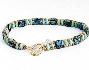 Checkmate bead bracelet/ beaded  bracelet birthday gift/ superduo bead bracelet/ boho bead bracelet/ stack bracelet