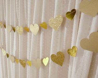 Gold Heart Garland, Glitter Heart Garland, Bridal Shower Decor, Gold Wedding Decor, Paper Heart Garland, Heart Banner