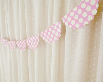 Pink Polka Dot Garland, Scalloped Bunting Banner, Decorative Garland, Baby Shower Decor, Birthday Party Decoration