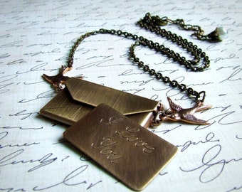 I love you antiqued brass envelope necklace, love note locket, sparrow birds, bird jewelry, long necklace