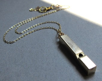 Vintage brass working whistle necklace with gold chain