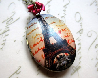 Femme fatale- Brass Oval Eiffel tower photo locket necklace with red rose, paris locket, eiffel tower jewelry, paris jewelry