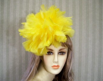 a51e78097339d Yellow Feather Kentucky Derby Fascinator Hat Easter Hat Alice in Wonderland Hat  Wedding Fascinator Bridal Fascinator Horse Racing Hat