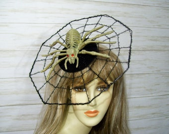 Headpiece Halloween hat Spider Fascinator Spider Costume Spider Web Lace Spider headband Mouse Ears Halloween Lace ears,