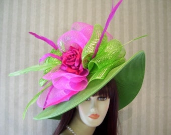 Green and PiNk Wide Brim Hat 67a072ccf4a6