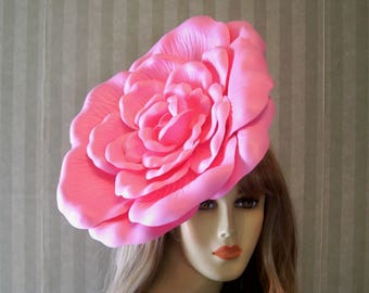 41b1342a4bc4e Large Pink Kentucky Derby RoSe Fascinator