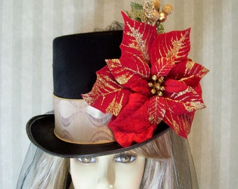 christmas top hat christmas holiday hat poinsettia winter tea hat alice in wonderland top hat dickens festival top hat - Christmas Top Hat