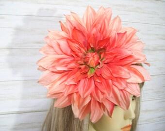Ombre Orange Dahlia Flower Fascinator Tea Party Hat Floral Fascinator Wedding Flower Hat Kentucky Derby Flower Fascinator