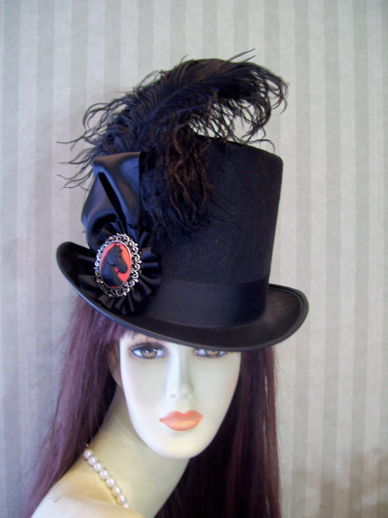 7cef794b3127d Black Kentucky Derby Top Hat Horse Cameo Steampunk Top Hat