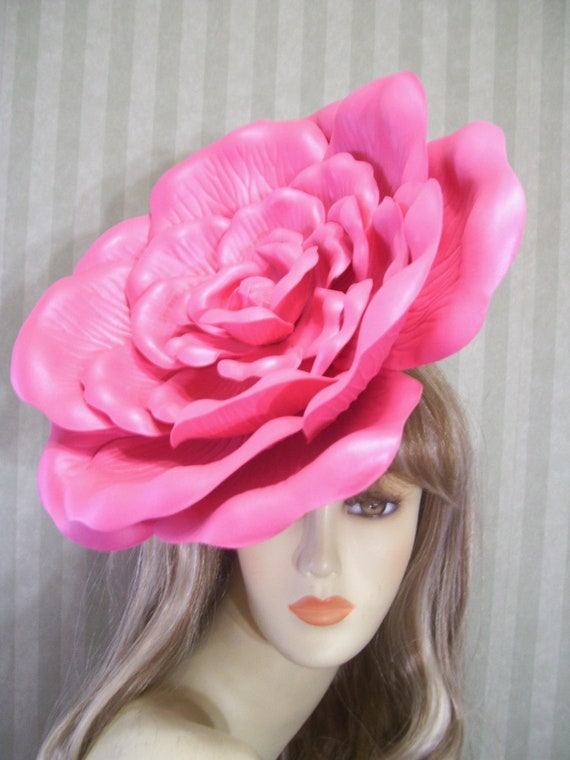 Large PiNk Rose Kentucky Derby Fascinator Hat 13 inches Wide  ad4792a4791
