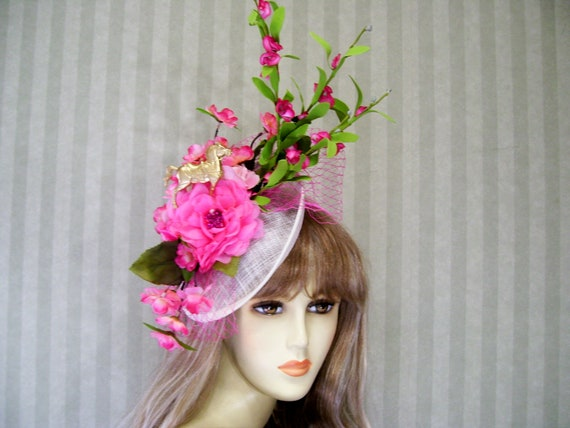 PiNk Kentucky Derby Horse Fascinator Hat Wedding Fascinator  7d566c6682b