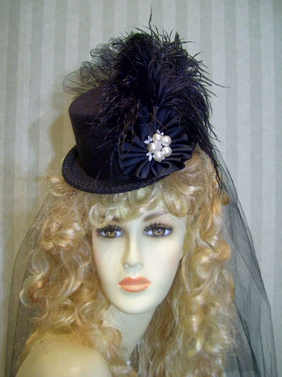 Kentucky Derby Hat Black Steampunk Top Hat Halloween Victorian Hat Civil War
