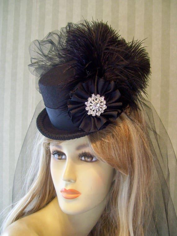 Black Steampunk Mini Top Hat Halloween Black Mini Top Hat  4ec412796d8b