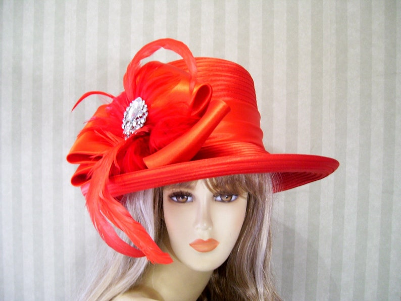 SALE RED Kentucky Derby hat Red Wide brim Hat Red Society  4e421e4d7804