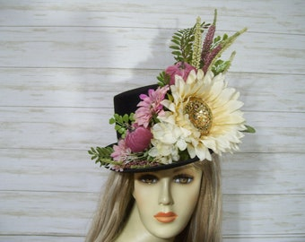 Black Top Hat Ivory Sunflower Top Hat, Halloween Hat, Thanksgiving Top Hat, Table Center Piece Top Hat, Fall Top Hat Fall Festival Hat