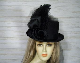 Black Top Hat Halloween Top Hat, Steampunk Top Hat, Victorian Top Hat, Dickens Festival Top Hat, Wedding Hat, Kentucky Derby Top Hat
