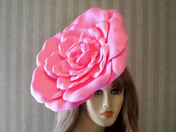 Large Pink RoSe Fascinator 13 Inches Wide hat Tea Party  10f4e5286c1