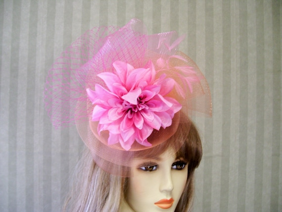 205cdc8d507 PiNk and Peach Flower Fascinator Belmont Horse Race Hat Hand