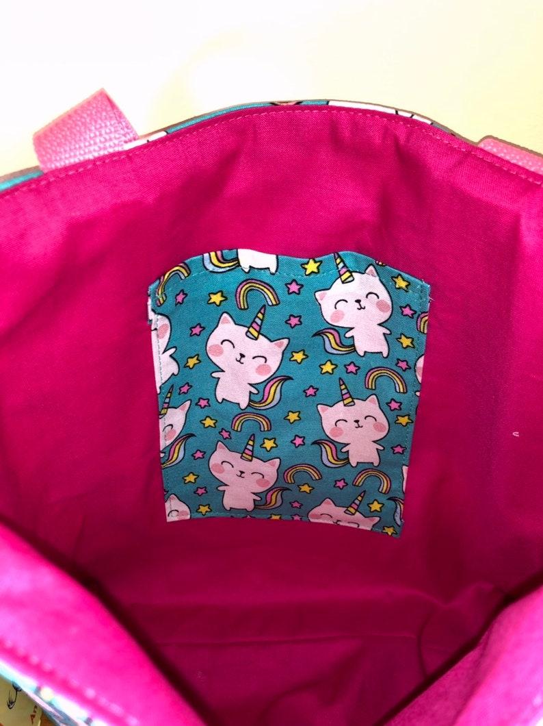 Girls Tote Bag, Girls Kitty Unicorn Toddler Tote Bag Kids School Tote Bag Kids Library Bag Gift Idea Book Bag
