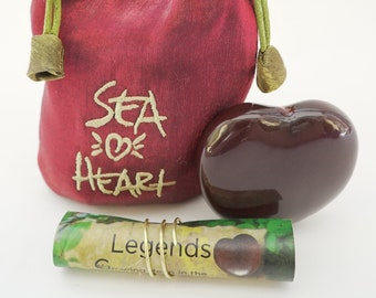 Frienship, Travel, Romance- A Sea Heart in Red Satin pouch with Legend Story makes a memorable gift!.