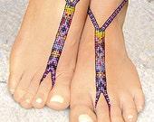 PATTERN 2 Barefoot Sandals stretch beaded Foot Jewelry beach destination wedding - Purple haze, Moonlight, Daylight, Cool Ice, Ocean