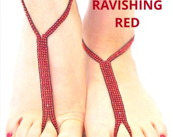 Red Nude Shoe brand Bare Foot Sandals: Foot jewlery comes in a shoebag in an adorable tiny shoe giftbox